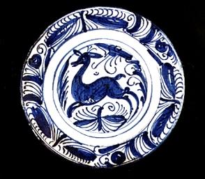 0039 ceramica alas mariposa cierva. talavera de la reina