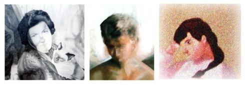 0101 retrato al oleo, puntillismo