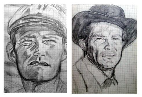 098 retrato a lapiz.Chuck Connors y Robert Conrad