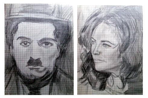 100 retrato a lapiz.Charlot y Liz Taylor