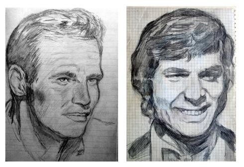 101 retrato a lapiz. Charlton Heston y Engelbert humperdinck