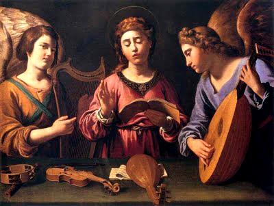 Santa Cecilia con dos angeles