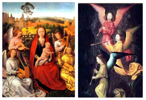 virgen niño y angeles musicos memling