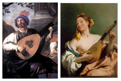 alegoría de la musica con guitarra barroca
