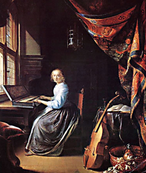 Gerrit  Dou joven tocando clavicordio