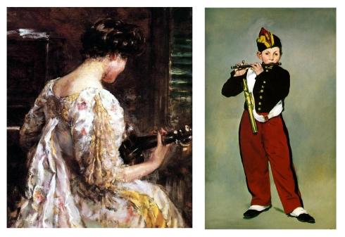 impresionismo james Carroll  - mujer con guitarra - Manet el Flautista