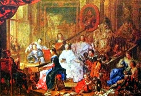 Johan Geor1.750 escena rococo de musica corte alemana