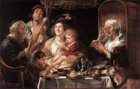 jordaens - As the Old Sang the Young Play Pipes. 1638.