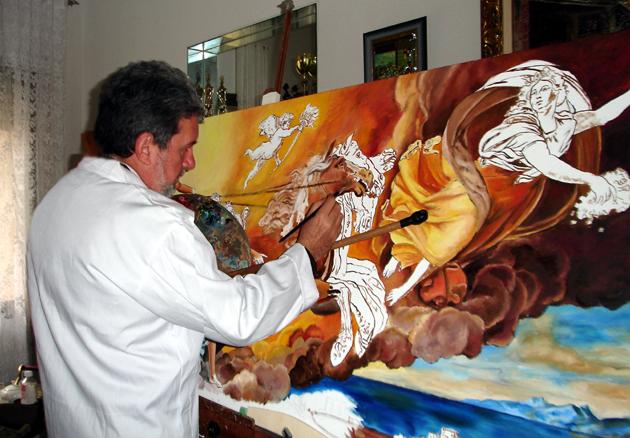 Resultado de imagen para pintor con paleta y pinceles pintando un cuadro
