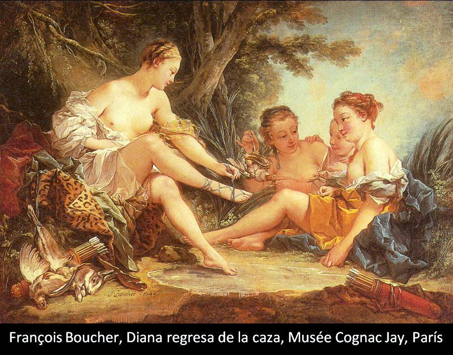 Boucher El Bano De Diana.La Diosa Diana Artemisa El Pincel Con Lienzo
