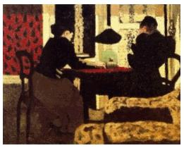 vuillard dos mujeres bajo la lampara