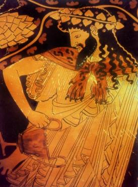 010 Dionisos. Vaso de figuras rojas 400 a.C.