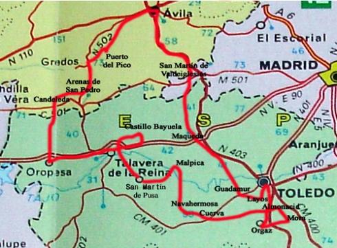 mapa ruta pintado