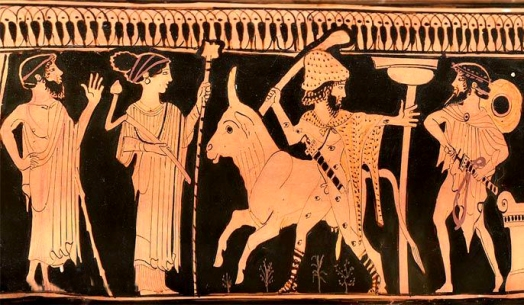 001 Zeus, Hera, Ío convertida en vaca, Argos el de los múltiples ojos, Hermes, hidria ática, ca. 460 a.C.