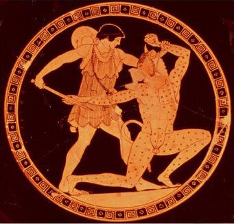 figuras rojas teseo y el minotauro