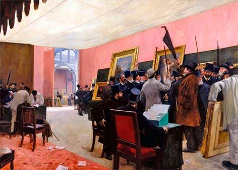 003-henri-gervex-jurado-del-salon-de-otonos-examinando-los-cuadros-1885